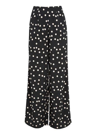 Black wide leg pants with white polka dots