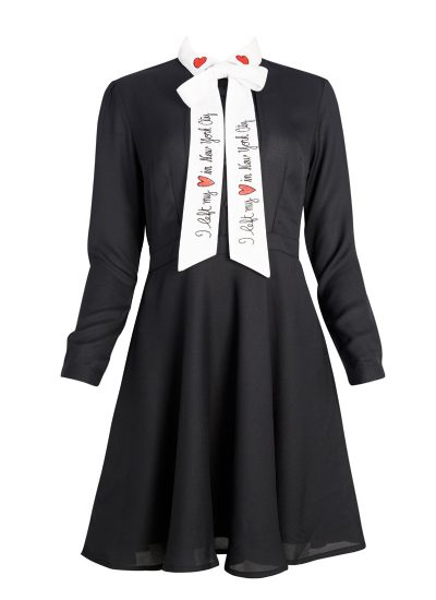 White Contrast Collar Embroidery Dress