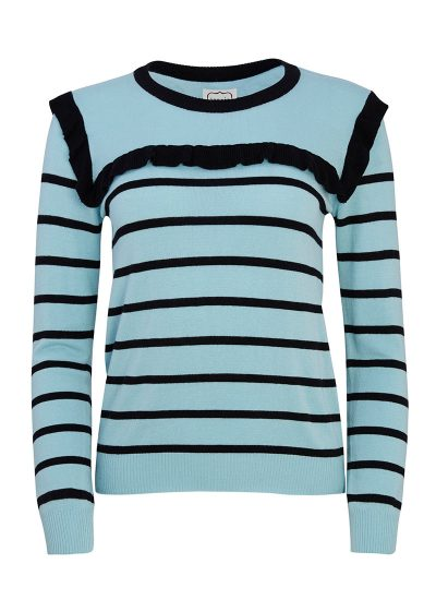 Blue jumper with stripes and frills