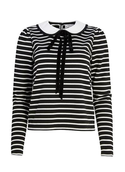 Black and white striped top with Peter pan collar and neck tie