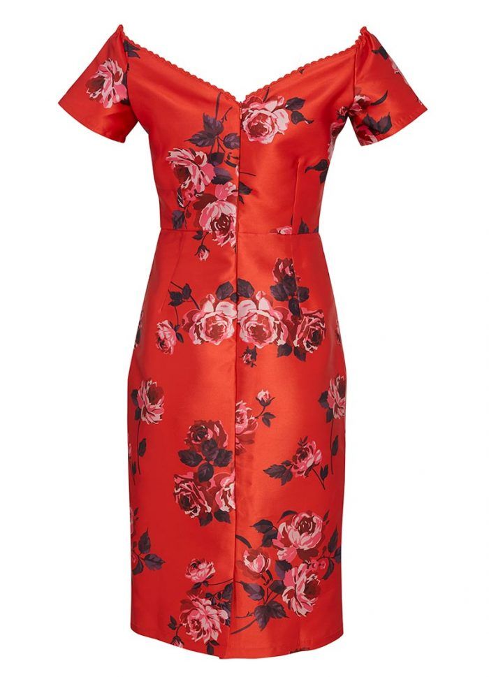 Sybil Red Floral Bardot Wiggle Dress