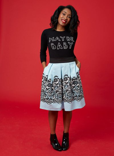 Blue skirt with black and white border print