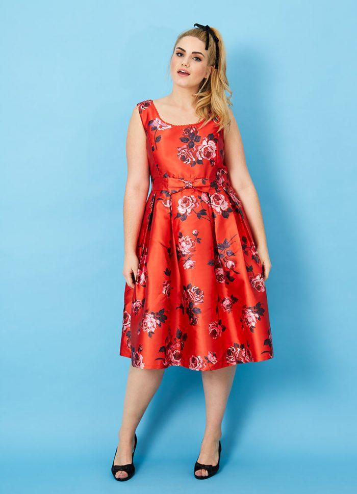 Ria Red Floral Print Prom Dress