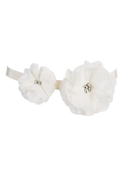 Jewel Flower Cream Bridal Belt