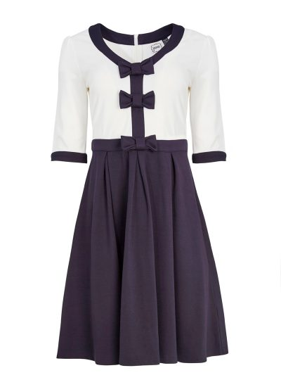 Jersey Contrast Navy Bow Dress