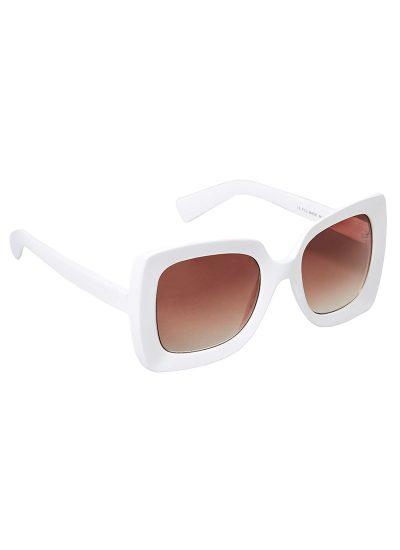 White vintage-style oversized sunglasses