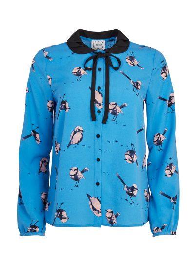 Blue Bird Print Collar Blouse
