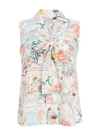 Paris Print Tie Neck Blouse