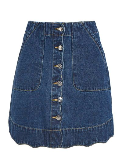 A-line Button Through Denim Skirt