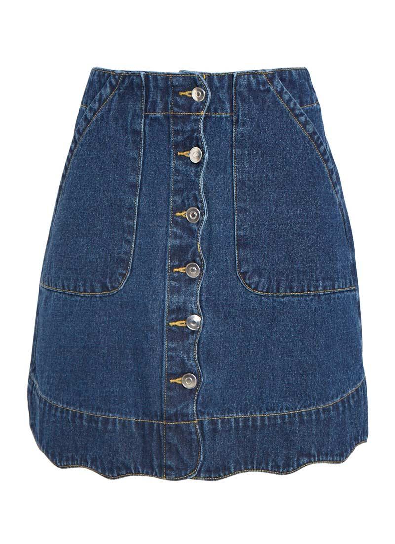 Sarah Scallop Hem Button-through A-line Denim Skirt   60s Style ...