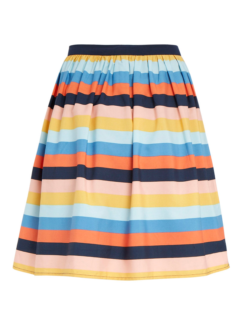 Cressida Colour Stripe Skirt | Vintage-inspired Multi-colour Mini ...