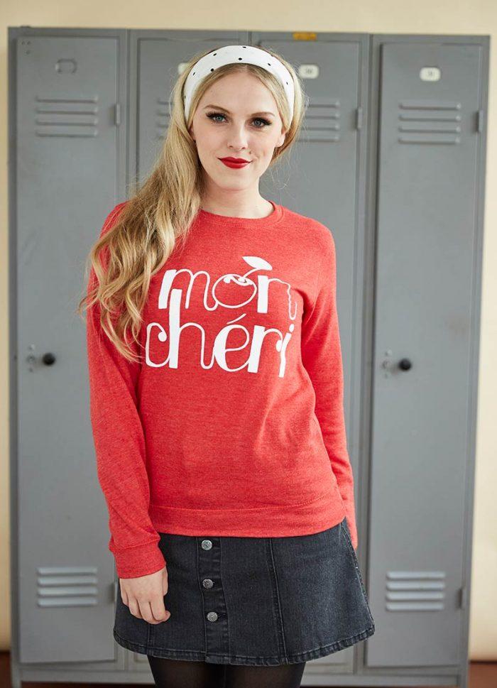 morello mon cheri sweatshirt vintage inspired