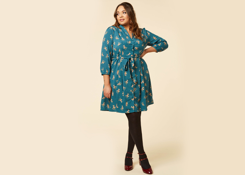 Joanie Clothing Barbara Fawn Print Shirt Dress
