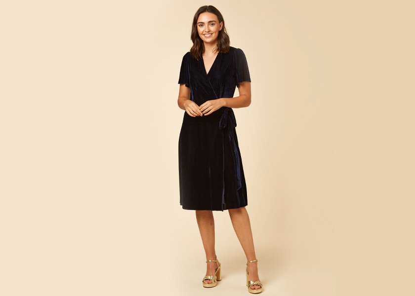 JOANIE CLOTHING HARLEY NAVY VELVET MIDI WRAP DRESS
