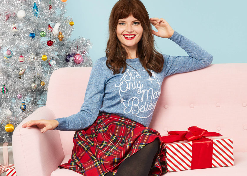 Joanie Clothing Nora Make Believe Slogan Jumper and Shirley Red Tartan Full Circle Skirt - Black Friday Sale