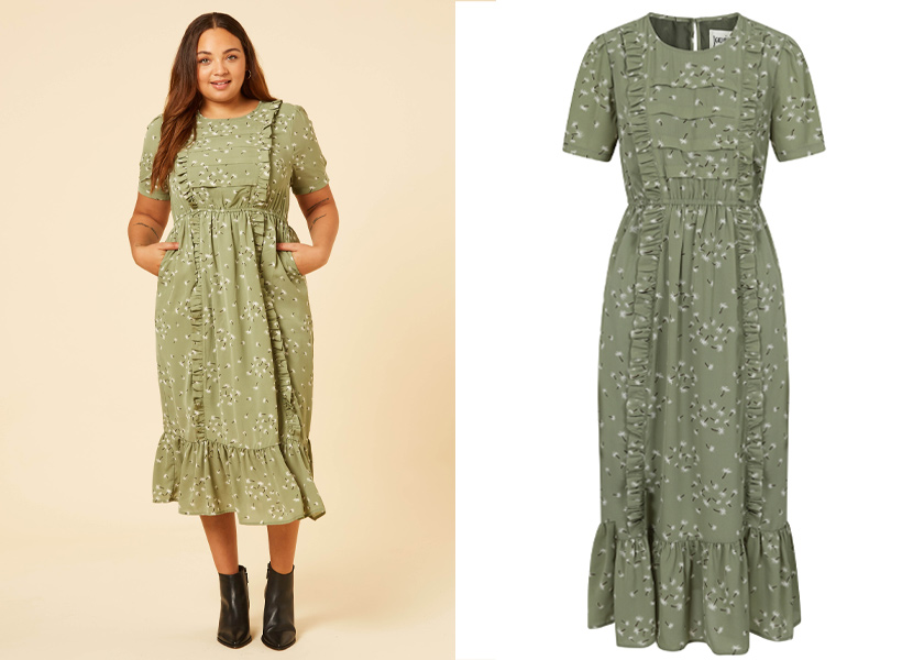 Joanie Clothing Midi Dandelion Print Dress green