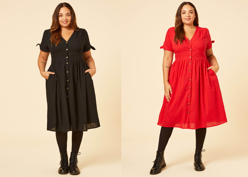 Joanie Clothing Natalie dress in Black and Red Halloween Style