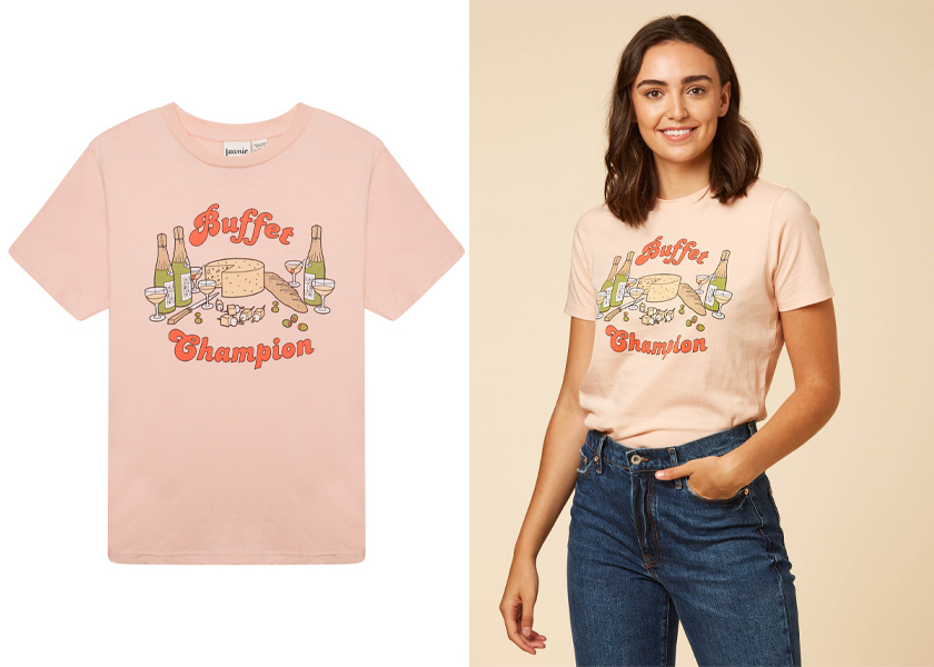 Joanie Clothing Phoebe Buffet Champion Slogan Tee