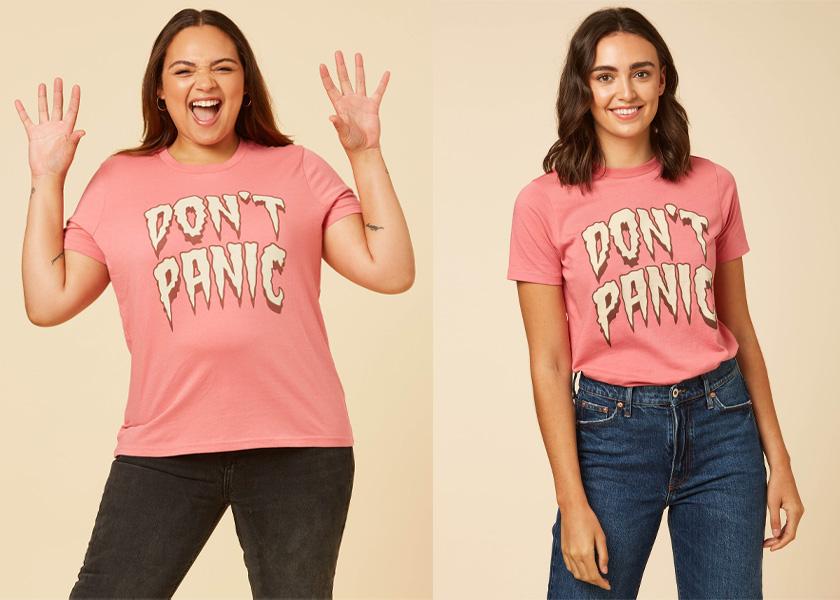 Joanie Clothing Sissy Don't Panic Slogan Tee Pink