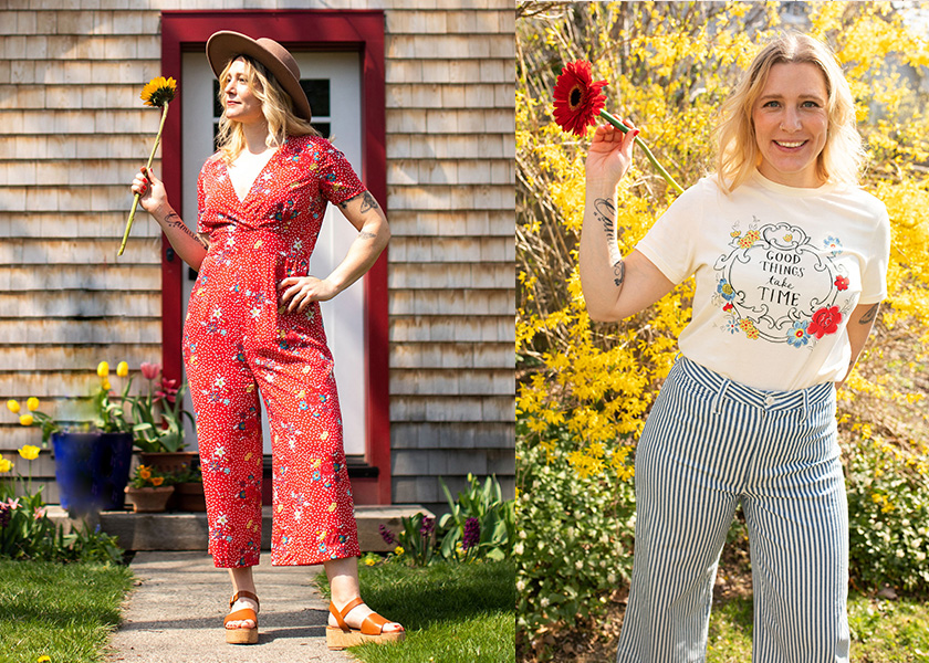 Molly Hatch holding a flower wearing Arianne Jumpsuit and Molly Hatch holding a flower wearing Camilla T-Shirt and striped trousers