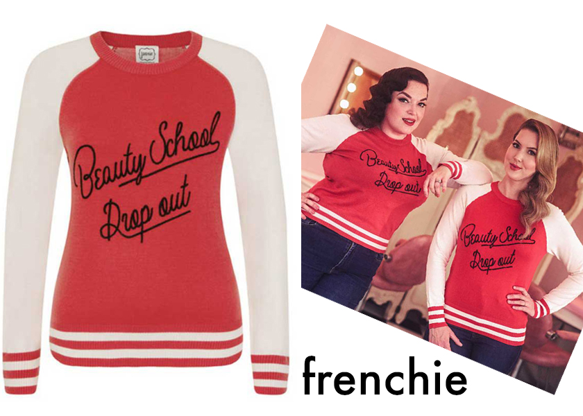 Miss Rockabilly Ruby and The Vintage Beauty Parlour wearing Joanie's Frenchie sweatshirt.