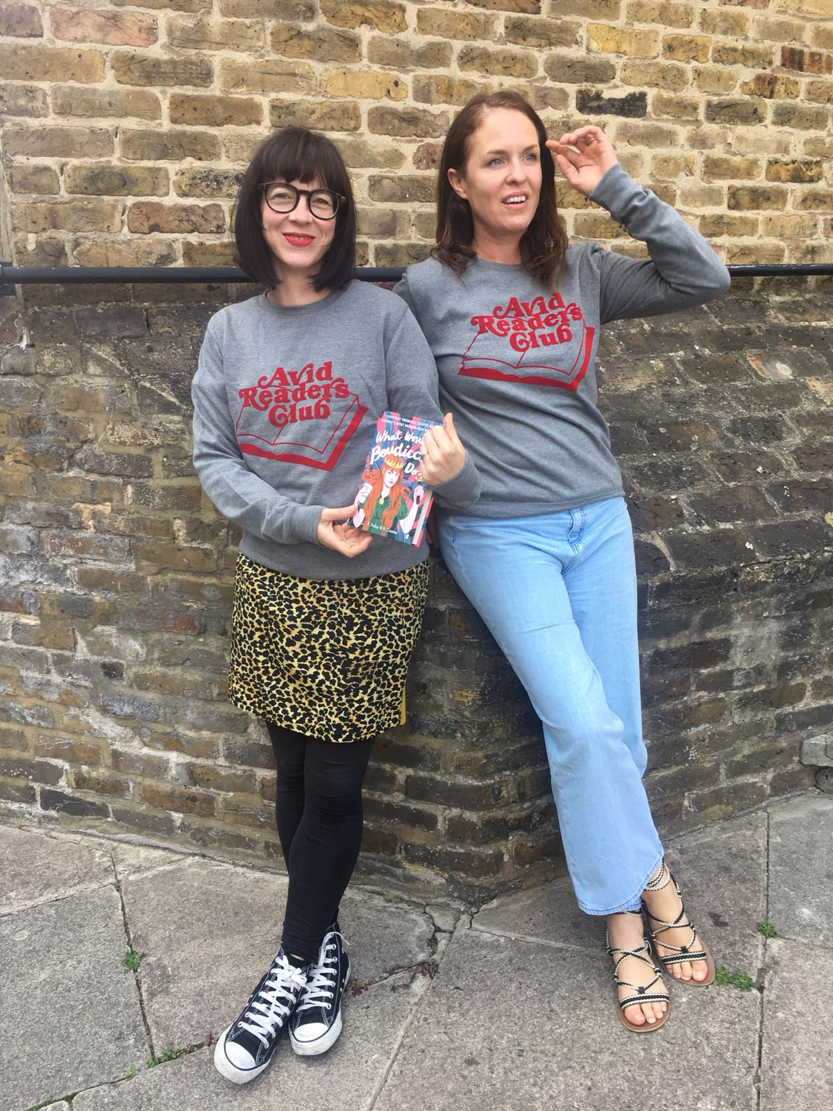 'What Would Boudicca Do?' Elizabeth and Beth wearing our Bronte Sweatshirt