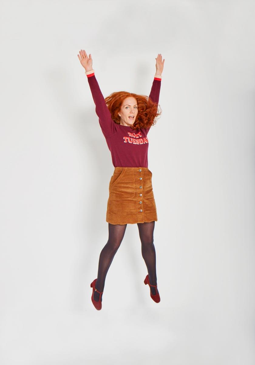 Creative Manager wears Joanie knitwear
