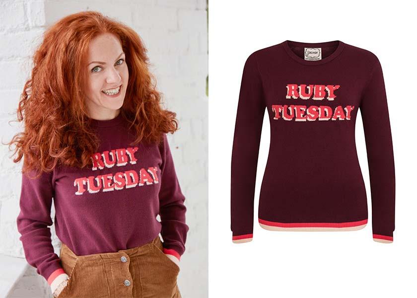 Christine wears the Ruby Tuesday Mardi Jumper