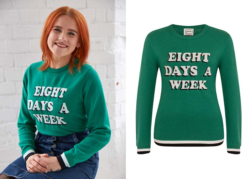 Sarah R and our Huit 'Eight Days a Week' Jumper.