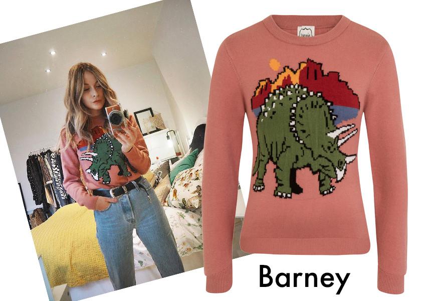 Fellaby wearing Joanie's Barney Jumper