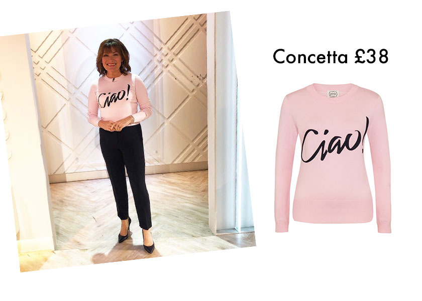 Lorraine Kelly wears Joanie Clothing Ciao jumper
