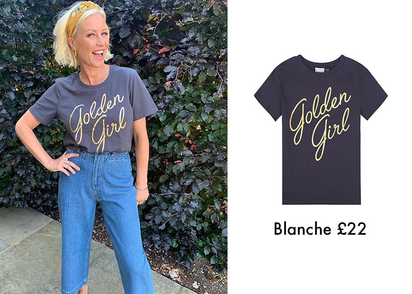 Celebrity Style Denise Van Outen wears Golden Girl T-shirt Gogglebox